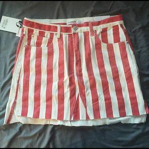 Dolls kill red/white striped denim skirt. NWT